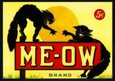 Me-Ow Meow Black Cat Cats Cigar Crate Box Label Art Print. $9.99, via Etsy.