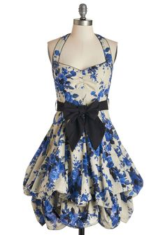 Indigo Gardens Dress - White, Floral, Pleats, A-line, Halter, Blue, Scallops, Vintage Inspired, 50s, Statement, Steampunk, Belted, Cotton, Sweetheart, Pinup, Summer, Best Seller, Party, Top Rated, Long, Prom, Homecoming, Print, Graduation