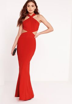 Missguided - Cross Strap Cut Out Maxi Dress Red