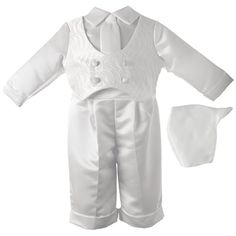 Lauren Madison Baby-Boys Newborn Baby Boy Christening Baptism Infant Special Occasion Three Piece Satin Long Pant Outfit Set with Embroidered Vest. Baby Boys, Baby Boy Newborn, Boys Clothing Stores, Boy Clothing, Baby Boy Christmas Outfit, Double Breasted Vest, Boy Baptism Outfit, Baby Boy Christening, Thing 1