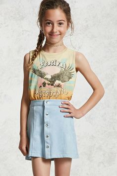 Forever 21 Girls - This faux suede mini skirt features an A-line silhouette, a snap-buttoned front, and seam-stitching along the front, and an elasticized back waist.