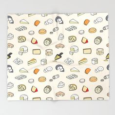 Cheese Pattern Bed Throw Blanket by Laura Frere - x Blanket Journal Entries, Graphic, Illustration, Doodles, Throw Blankets, Wallpaper, Crisp, Prints, Couch