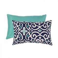 Mmmmm w/ a navy instead of a teal pillow? 18.5 Light and Dark Blue Damask Design Rectangular Throw Pill...