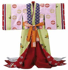 Japan, kabuki costume, silk taffeta kitsuke with flowers and mon pattern, for Murasaki-no-Ue (one of Genji' wives), in Genji monogatari play, 1990