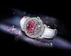 The explosion of red experiences an eruption in Royal Ruby Tourbillon, gaining strength from their precious stones that make seductive, dramatic event.        Enhancing the beauty of this already beautiful and fiery hour, sparks, red spot on the dial