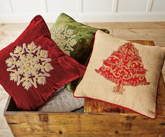 Hand-Embroidered Holiday Pillows | napastyle.com