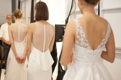 The models line up before the Amsale Fall 2015 show. The highlight of the show was the array of delicate back details.