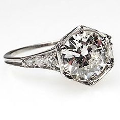 Vintage 1930's Antique Diamond Engagement Ring w/ Accents Solid Platinum