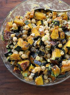This healthy winter squash and chickpea salad is laced with a nutty, delicious tahini-based dressing….perfect for a good-for-you lunch or dinner!