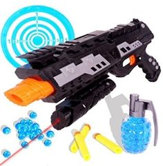 Tevelo 2-in-1 Shooting Gun Toy Foam Dart and Water Polymer Ball This is definitely a pretty cool toy gun! A fantastic toy to play with, creative, as children will construct their own army scenarios. Sale: $19.99 http://amzn.to/2dI44lu https://dashburst.com/michaela09/278
