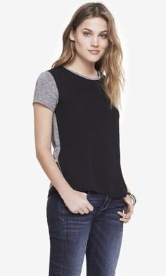 MIXED FABRIC TULIP BACK TEE from EXPRESS