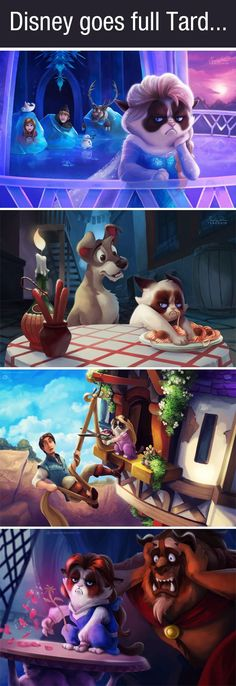 If Grumpy Cat was the star of Disney movies…