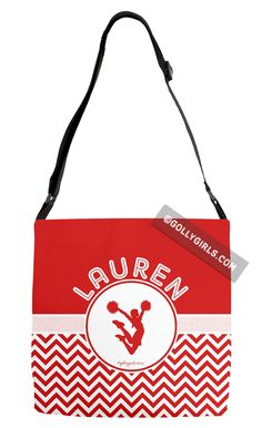 Golly Girls: Personalized Simple Red Chevron Cheerleading Adjustable Strap Tote Bag only at gollygirls.com