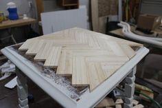 Herringbone Table Top (use stir sticks for 5 gallon paint buckets) The Wood Grain Cottage