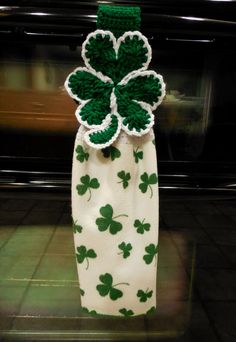 Hanging Towel  Shamrock Topper  Crochet by ShelleysCrochetOle, $12.00