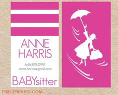 Nanny or babysitter square business card calling card mommy card babysitter deluxe business cards thick color both sides reheart Gallery