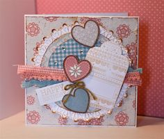 Handmade shabby chic birthday card using the Papermania Craft Collection