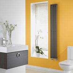 The Milano Aruba slim anthracite vertical designer radiator will make a style statement in any modern bathroom