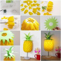 View in gallery pineapple lamp from plastic spoons simple diy pineapple lampshade made from spoons Plastic Spoon Crafts, Plastic Spoons, Plastic Bags, Recycled Crafts, Diy Crafts, Recycled Clothing, Recycled Fashion, Homemade Crafts, Pineapple Lamp