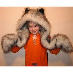 Trendy Husky Dog Hood Faux Fur Hat with Scarf Mittens Ears and Paws. Fun and sexy looking accessory for winter. sizes: Adult, child 3-5 years, 6-9 years,