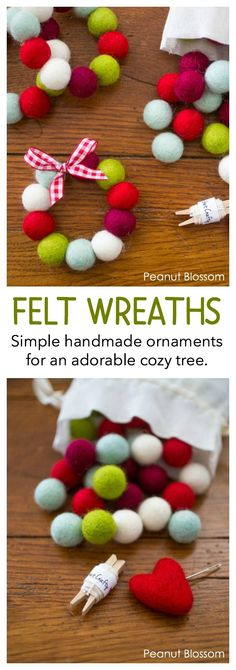 Warm and cozy felt ball wreath ornaments for a country Christmas look. This simple sewing project is a great craft for kids to make as homemade gifts for the holidays. Makes an awesome ornament or personal gift topper!