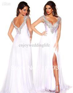 Sexy Deep V Neck Women Pageant Chiffon White Beaded Crystals Top Ruffles Split Prom Dresses Long 42579P $159.00