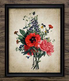 Vintage Flower Bouquet  Antique Botanical Print by InstantGraphics