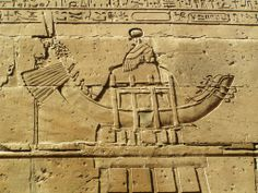 Solar Boat reliefs on the walls of the Temple of Horus in Edfu, Egypt.
