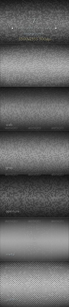 Perforated Metal Grid Backgrounds  #graphicriver