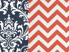 Reversible Duvet Cover Navy Damask and Coral Chevron Dorm Twin, Twin and Full / Queen