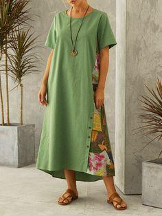 Vintage Print Patchwork O-neck Plus Size Dress Plus Size Vintage Dresses, Plus Size Dresses, Work Casual, Suits You, Vintage Prints, Plus Size Women, My Girl, Shirt Dress, Cotton