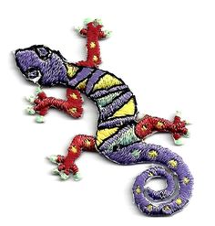 LIIZARD/GECKO (Sm)-Iron On Embroidered Applique-Southwest, Lizards, Geckos #ABC…