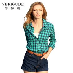 Veri Gude Women's Plaid Shirt Fashion Tops Slim Fit Casual Cotton Blouse Free Shipping *** AliExpress Affiliate's buyable pin. Item can be found  on www.aliexpress.com by clicking the image
