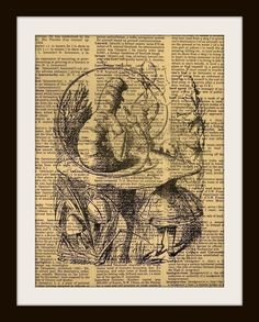 Alice in Wonderland Smoking Caterpillar Art Print Vintage Dictionary Page 8 x 10