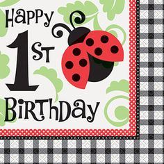 Ladybug Party 1st Birthday Luncheon Napkins, 16pk
