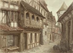 This image shows what the town houses would have looked like during this time period. For any scenes in the village, architecture similar to these buildings would be appropriate.