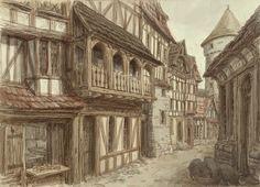 Medieval town 4 Medieval drawings Medieval town Fantasy town