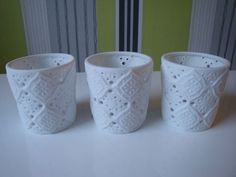 Set of 3 White Ceramic Raised Cut Out Colony Candle Holders | eBay