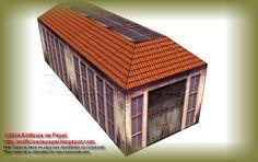 Segunda propuesta de cubierta para la maqueta de papel que representa un garaje industrial antiguo. Ya sabes que hemos diseñado cuatro tipos de tejado diferentes para este edificio de papel.