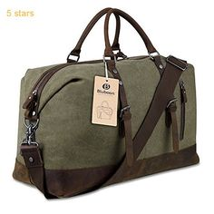 Travel Duffel Bag Tote Canvas Leather (Army Green)