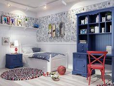 Детский спальный гарнитур Melanie Plus изготовлен из полностью окрашенного мебельного щита. Прованс или кантри стиль. Wood bedroom for girl in white and blue. Provance / country style.