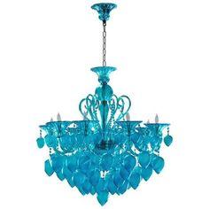 Cyan Design 4618 Bella Vetro 8 Light 1 Tier Chandelier, Blue Aqua (Glass)