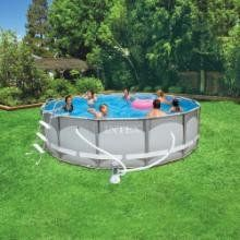 """Intex Ultra Frame 14 Foot X 42 Inch Above Ground Swimming Pool  •Features: Above Ground, Easy Set Pool  •Includes: Maintenance Kit, Filter Pump, Surface Skimmer, Pool Cover, Ladder, Instructional DVD  •Capacity (volume): 3357.0 Gal.  •Recommended Capacity: 4 People  •Water Depth: 37.0 """"  •Set-Up Time: 45-min.  •Frame Material: Steel  •Liner Material: Vinyl  •Safety Warning: Adult Supervision Required  •Manufacturer's Suggested Age: 6 Years and Up  •Dimensions: 168.0 """" L x 168.0 """" W x.."""
