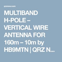 MULTIBAND H-POLE – VERTICAL WIRE ANTENNA FOR 160m – 10m by HB9MTN | QRZ Now – Amateur Radio News