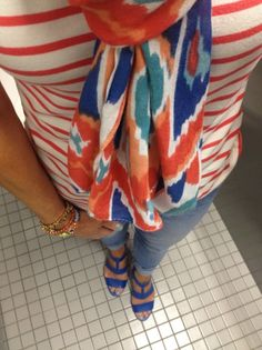 I love this stripes and scarf outfit in Coral/Orange and Royal Blue. It's a fresher version of the red/navy nautical vibe.