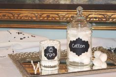 Glass Apothecary Jar   Cotton Ball Jar   Q Tip Jar   Set Of Bathroom Jars    Embossed Chalkboard Labels