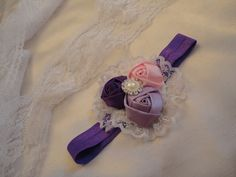 Satin Rossette with Lace Headband