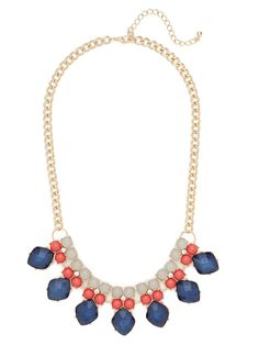 Check out the plume-inspired coloring this fab necklace rocks.  Its got a bevy of richly hued gems for an eye-catching, luxe look.