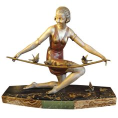 French Art Deco Spelter Sculpture on Marble