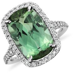 Blue Nile Cushion Green Tourmaline and Diamond Halo Ring in 18k White... ($5,000) ❤ liked on Polyvore featuring jewelry, rings, accessories, jewelry - rings, white gold pave ring, halo diamond ring, 18 karat white gold ring, white gold jewelry ve blue nile